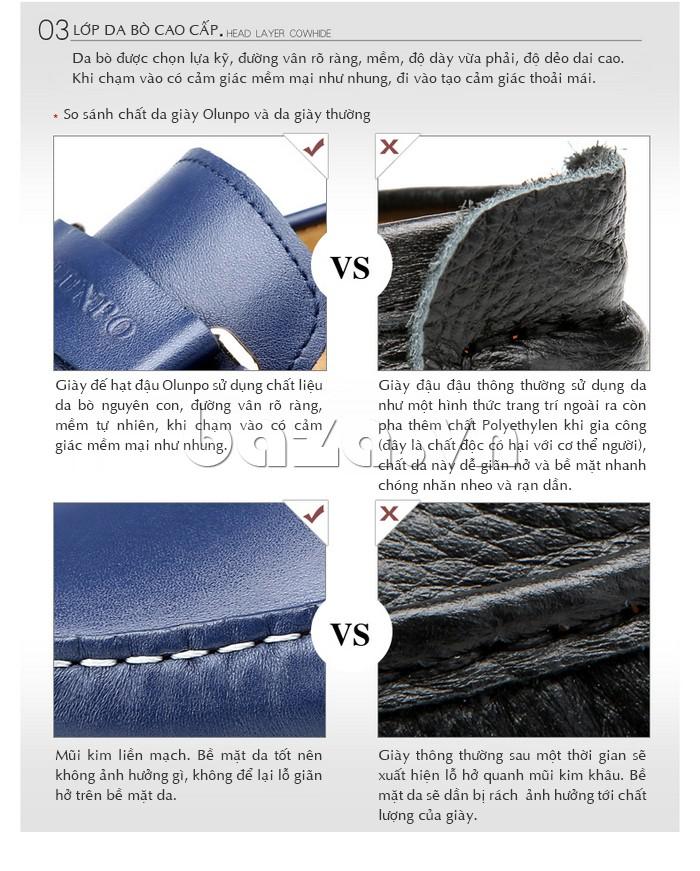 so sánh chất liệu của Giầy lười nam Olunpo CHY1402 với giày thông thường