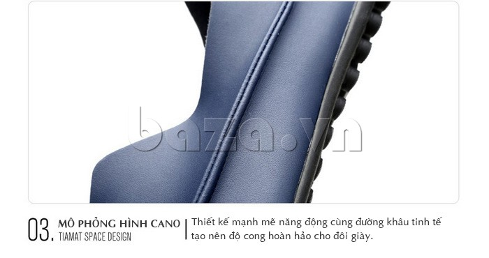 Thiết kế giày mô phỏng theo hình cano mạnh mẽ, năng động cùng đường khâu tinh tế