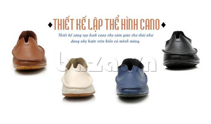 Giày da nam thiết kế lập thể hình cano cho cảm giác thư thái, dịu nhẹ