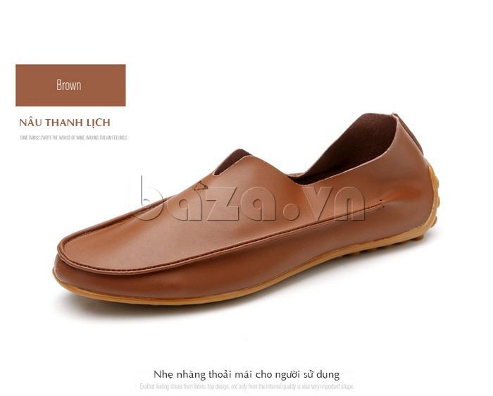 Mẫu giày da màu nâu lại mang đến sự thanh lịch