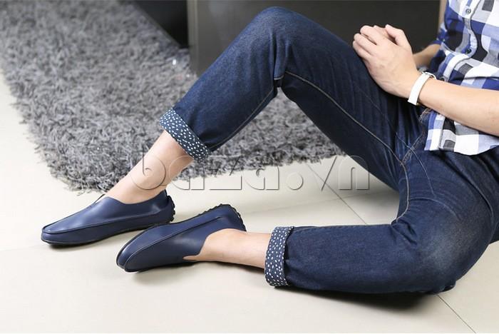 Giày da nam Olunpo kiểu dáng cano mới lạ