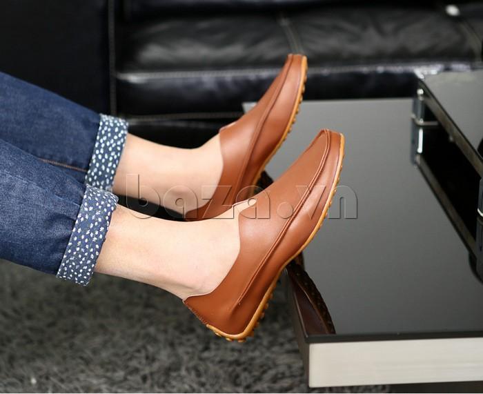Giày da nam Olunpo thiết kế cano mẫu màu nâu