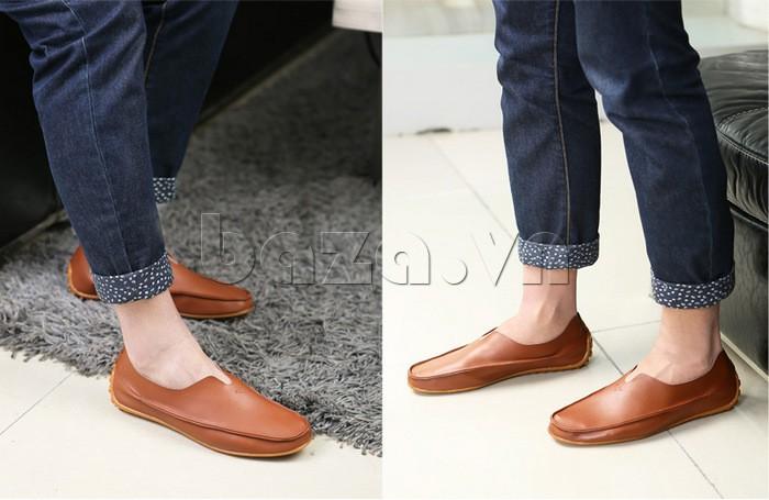 Giày nam màu nâu mang phong cách cổ điển và chững chạc