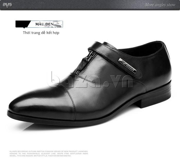 giày Olumpo QLXS1217 màu đen dễ kết hợp với quần áo và phụ kiện thời trang khác