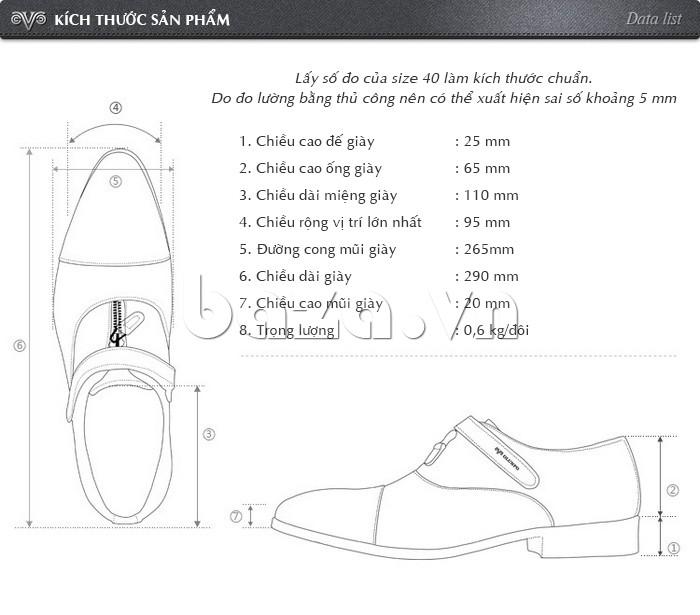Kích thước sản phẩm của giày Olumpo QLXS1217