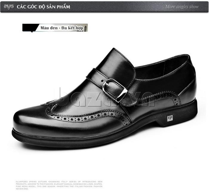 Giầy da nam thời trang Olunpo QLXS1304 màu đen dễ dàng mix đồ