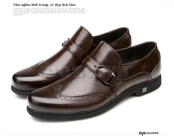 Giầy da nam thời trang Olunpo QLXS1304 màu nâu kiểu giày lười