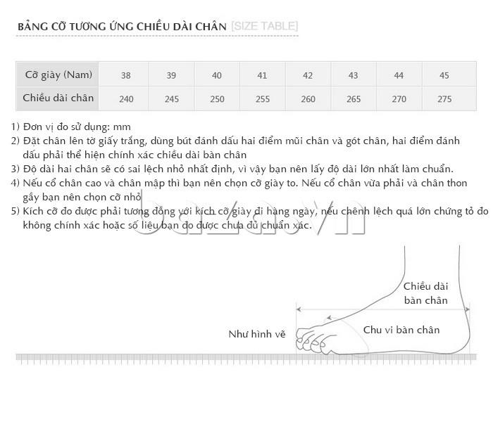 bảng thông tin cỡ Giày Olunpo OP001 với kích thước chân của người châu Á