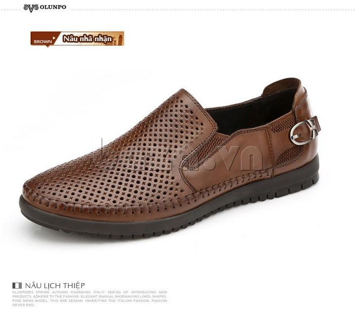 Giày Olunpo OP001 màu nâu lịch thiệp