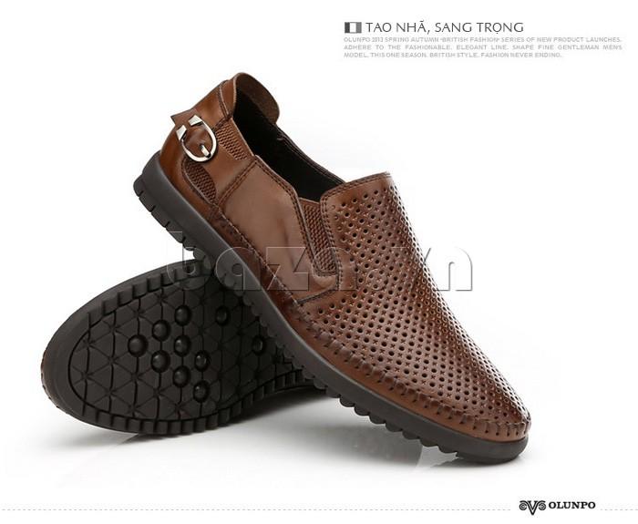 Giày Olunpo OP001 màu nâu tao nhã, sang trọng