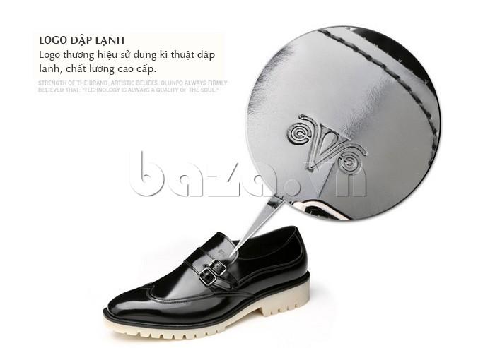 Giầy da nam thời trang Olunpo QEY1301 sử dụng lỹ thuật dập lạnh cho logo
