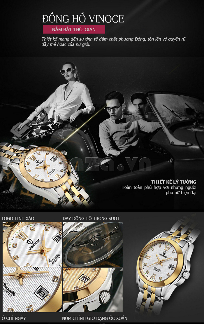 Đồng hồ thời trang nữ Vinoce V-8079G
