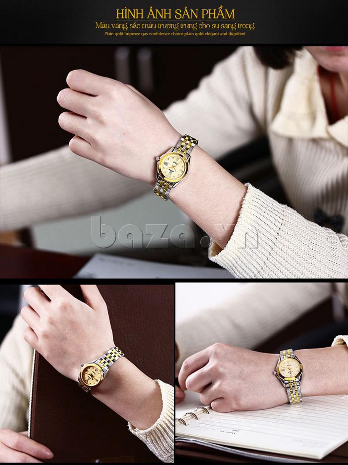Đồng hồ thời trang nữ Vinoce V-8079G mặt đáy trong suốt