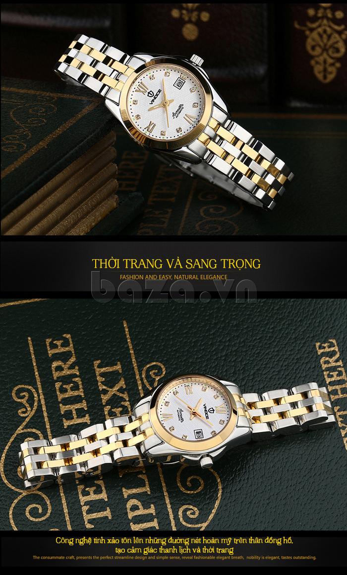 Đồng hồ nữ Vinoce V-8079G pha trộn giữa màu trắng bạc và vàng sang trọng