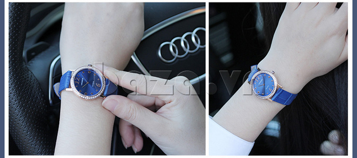 Đồng hồ nữ siêu mỏng Vinoce V8350DM dây da thật màu sắc bền bỉ