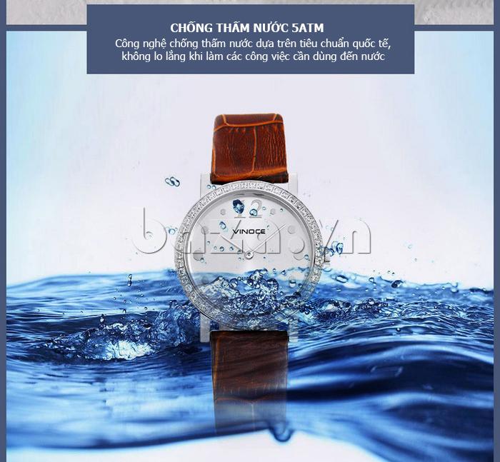 Đồng hồ nữ siêu mỏng Vinoce V8350DM dây da thật vẻ đẹp tinh tế