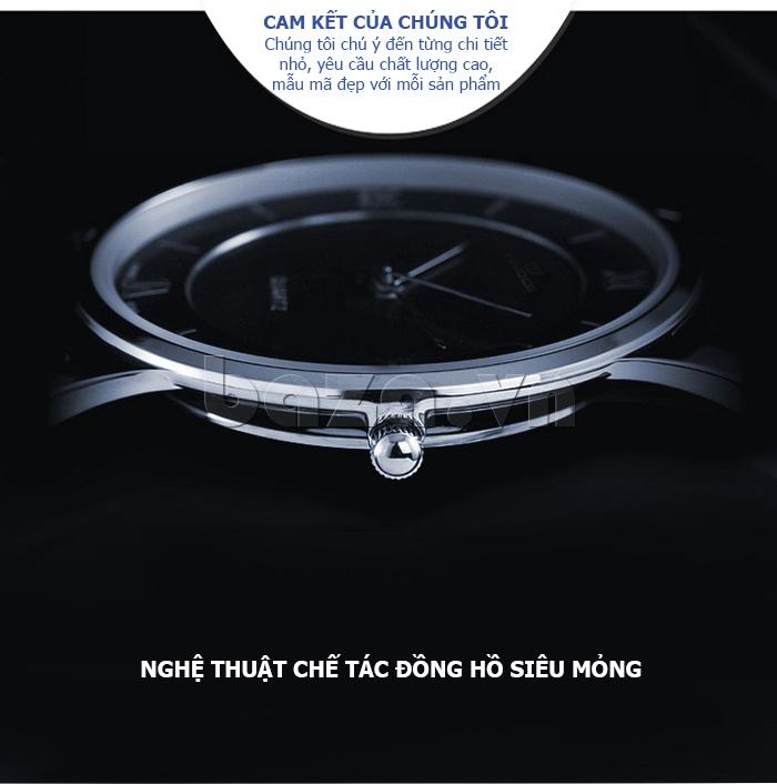 Đồng hồ nữ siêu mỏng Vinoce V8350DM dây da thật chất lượng cao cấp