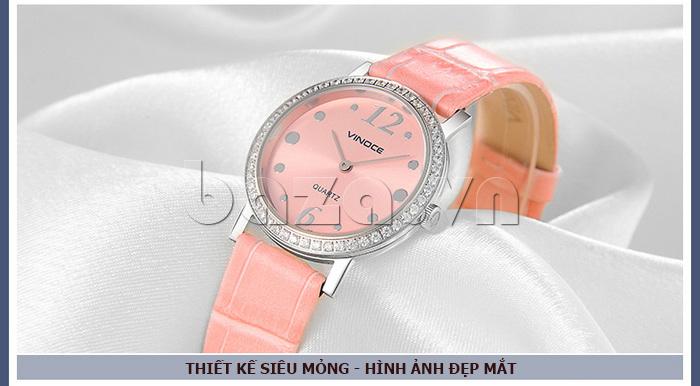 Đồng hồ nữ siêu mỏng Vinoce V8350DM dây da thật chống thấm nước hiệu quả