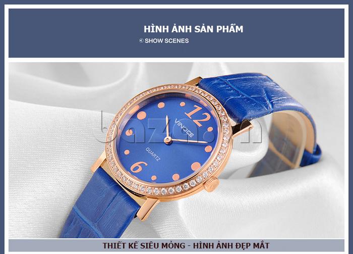 Đồng hồ nữ siêu mỏng Vinoce V8350DM dây da thật núm điều chỉnh nhỏ xinh