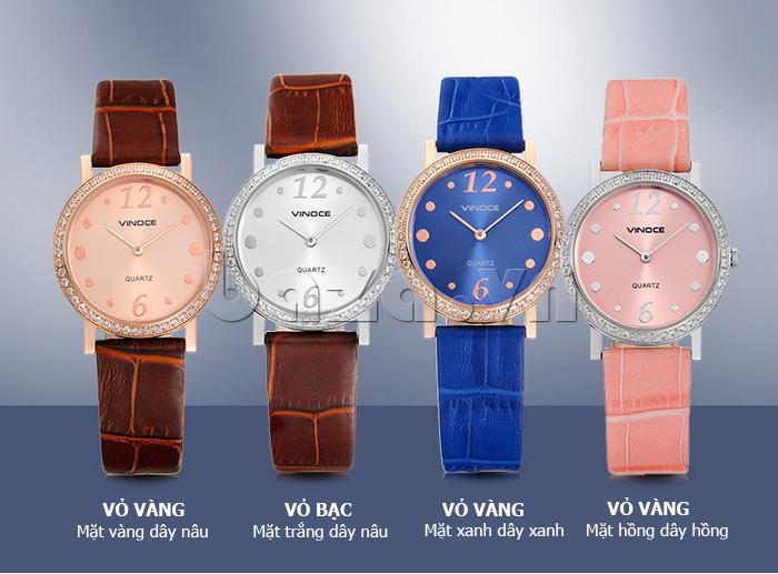 Đồng hồ nữ siêu mỏng Vinoce V8350DM dây da thật  nhiều màu cho bạn chọn lựa