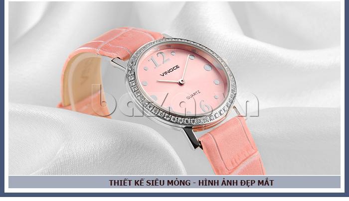 Đồng hồ nữ siêu mỏng Vinoce V8350DM dây da thật - đồng hồ nữ chính hãng