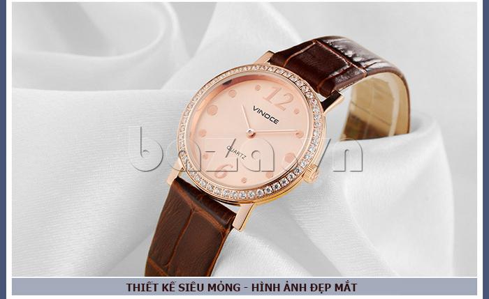 Đồng hồ nữ siêu mỏng Vinoce V8350DM dây da thật màu sắc cá tính đa dạng