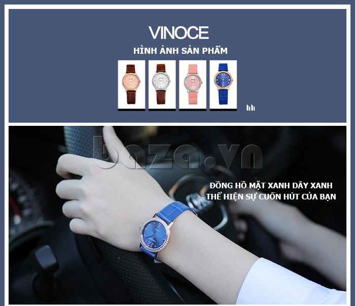 Đồng hồ nữ siêu mỏng Vinoce V8350DM dây da thật - hình ảnh sản phẩm
