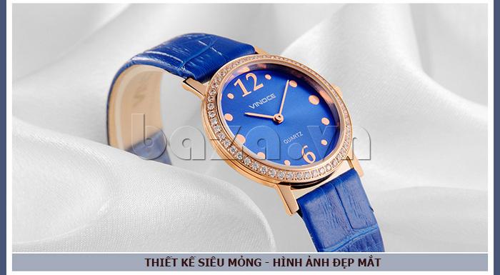 Đồng hồ nữ siêu mỏng Vinoce V8350DM dây da thật pha lê sáng bóng tinh xảo
