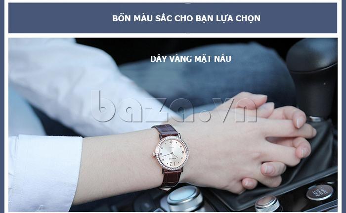 Đồng hồ nữ siêu mỏng Vinoce V8350DM dây da thật vẻ đẹp trên đôi tay bạn gái