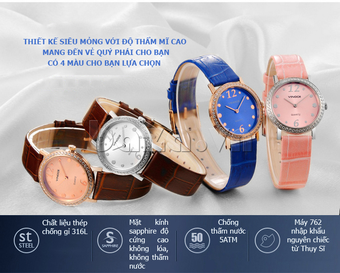 Đồng hồ nữ siêu mỏng Vinoce V8350DM dây da thật màu sắc đa dạng