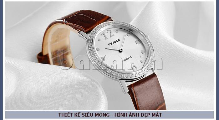 Đồng hồ nữ siêu mỏng Vinoce V8350DM dây da thật hình ảnh lung linh