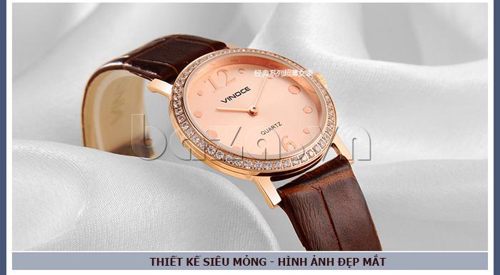 Đồng hồ nữ siêu mỏng Vinoce V8350DM dây da thật tô điểm vẻ đẹp trên đôi tay bạn