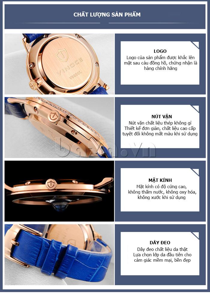 Đồng hồ nữ siêu mỏng Vinoce V8350DM dây da thật chất lượng đảm bảo