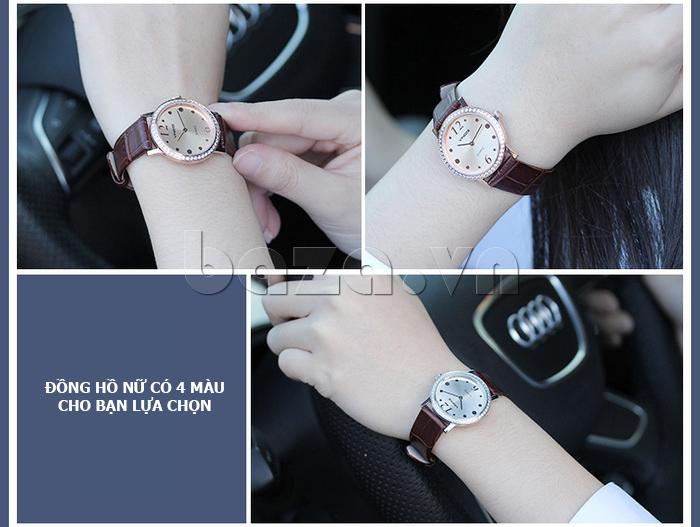 Đồng hồ nữ siêu mỏng Vinoce V8350DM dây da thật  dây da thật