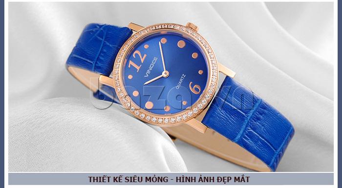 Đồng hồ nữ siêu mỏng Vinoce V8350DM dây da thật thiết kế siêu mỏng