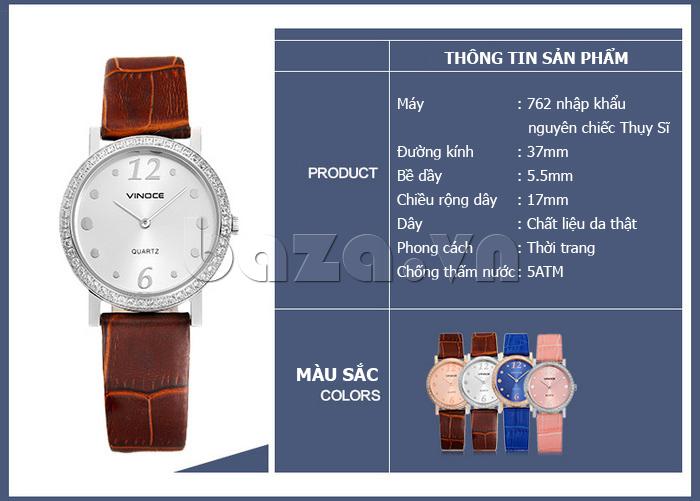 Đồng hồ nữ siêu mỏng Vinoce V8350DM dây da thật thiết kế tinh xảo