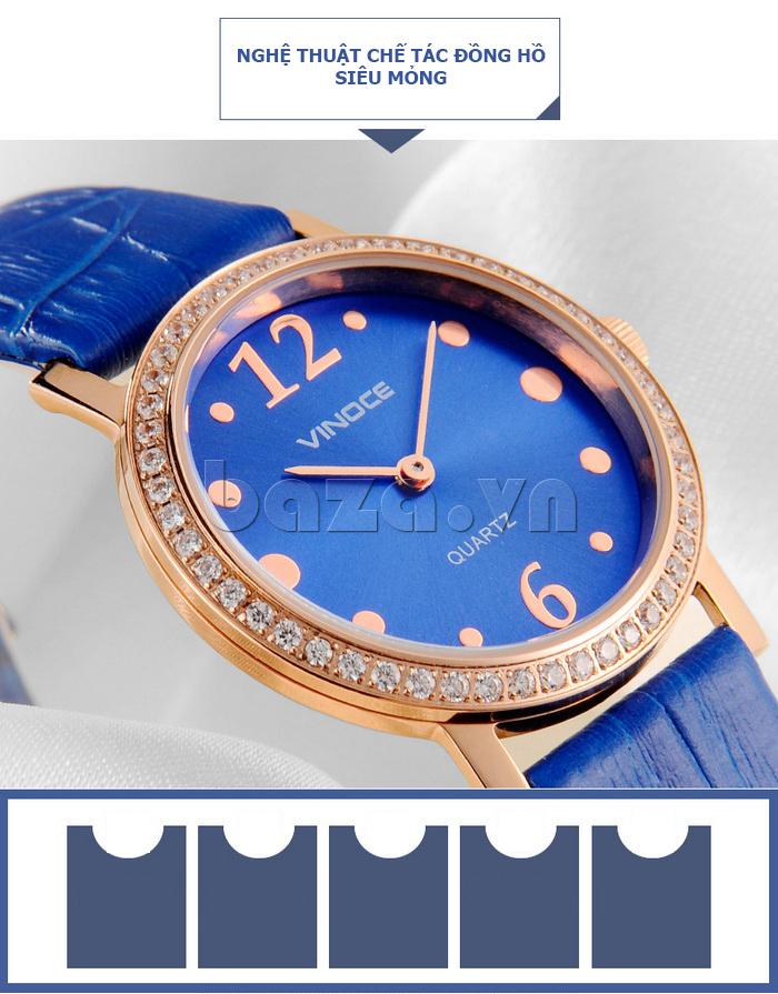 Đồng hồ nữ siêu mỏng Vinoce V8350DM dây da thật  mặt tròn