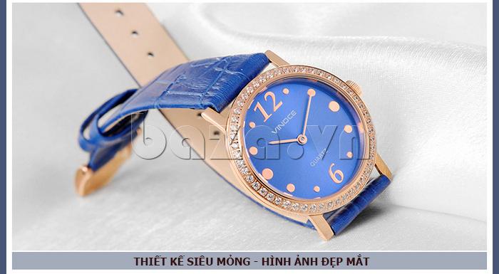 Đồng hồ nữ siêu mỏng Vinoce V8350DM dây da thật hình ảnh đẹp mắt