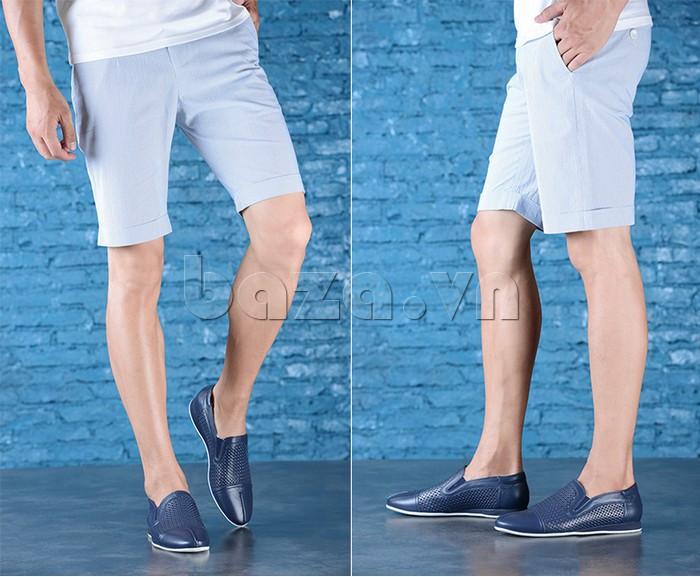 Giày lười nam viền đục lỗ Olunpo XZY1504 - dễ phối đồ