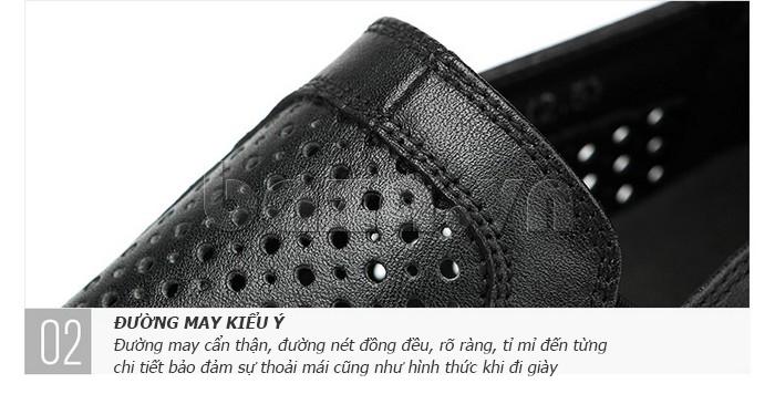 Giày lười nam viền đục lỗ Olunpo XZY1504 đường may kiểu Ý
