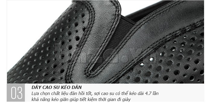 Giày lười nam viền đục lỗ Olunpo XZY1504 - cổ giày co giãn