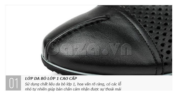 Giày lười nam viền đục lỗ Olunpo XZY1504 - da bò cao cấp