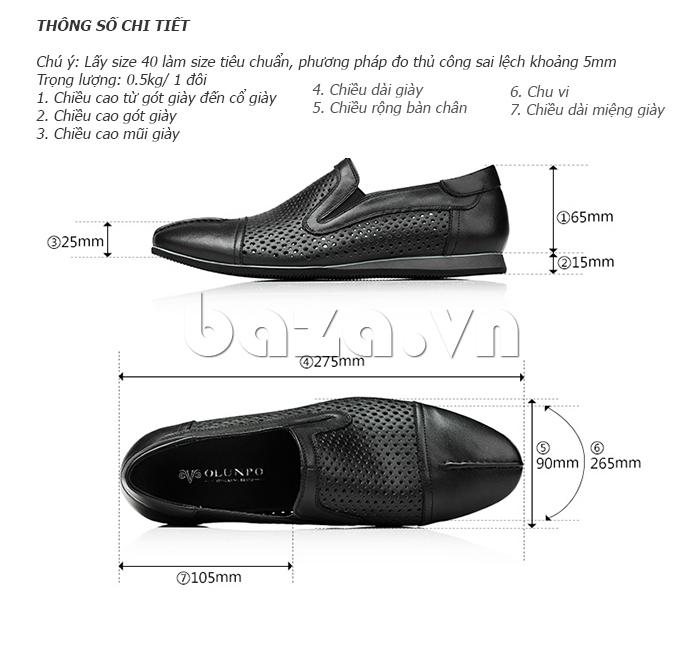 Thông số của Giày lười nam viền đục lỗ Olunpo XZY1504