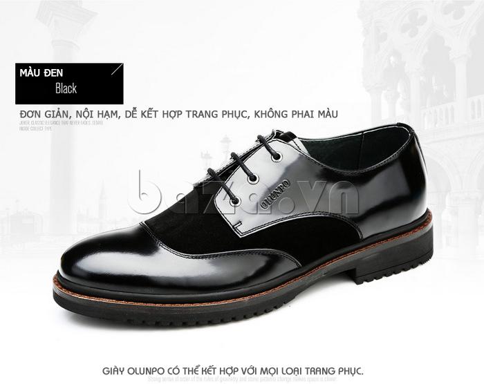 Giầy da nam thời trang Olunpo QLXS1410 màu đen dễ phối đồ