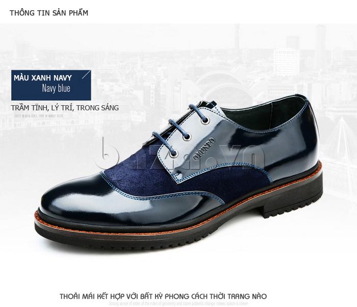 Giầy da nam thời trang Olunpo QLXS1410 màu xanh navy thời trang