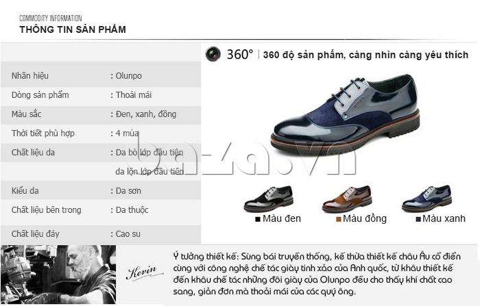 thông tin của Giầy da nam thời trang Olunpo QLXS1410
