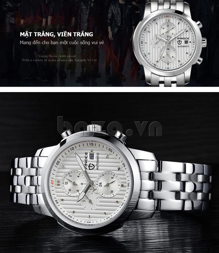Đồng hồ cơ nam Vinoce V633229L mặt kính bền đẹp
