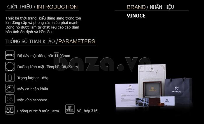 Đồng hồ cơ nam Vinoce V633229L mặt kính sapphire kiểu 6 kim tinh tế