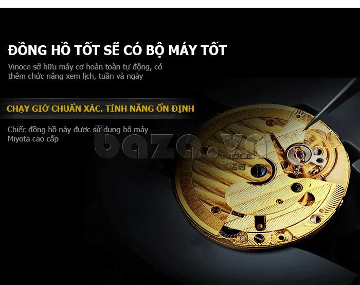Đồng hồ cơ nam Vinoce V633229L mặt kính sapphire kiểu 6 kim ấn tượng