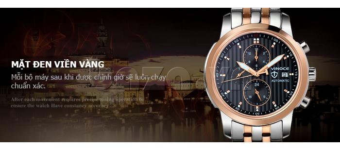 Đồng hồ cơ nam Vinoce V633229L mặt kính lạ